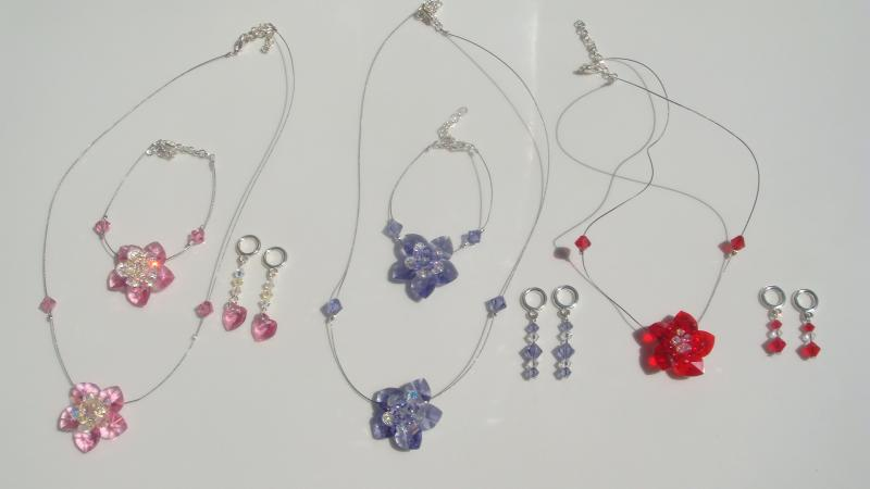 Swarovski Heart and Flower Set